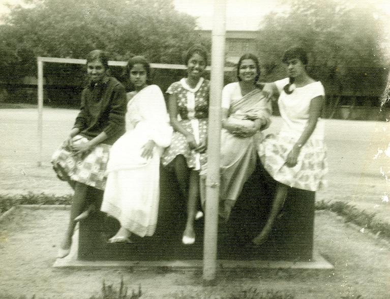 At the flag post - Hema Krishnayya, Hima Bhandari, Meera Nair, Annu Kuruvilla, Mary Mathews (1963)