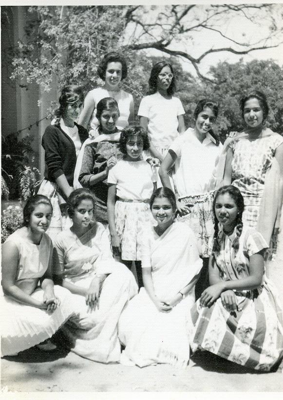 Boarders L To R Top - Farideh Kermani, Shirley Holt, 2nd Row - Mary Mathews, Hema Krishnayya, Mary Paul, Meera Nair, Geeta Nath Sitting - Hansa Ranchod, Hima Bhandari, Annu Kuruvilla, Vineeta Das (1963)