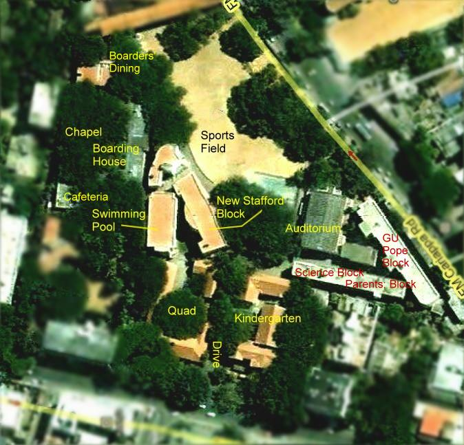 areal map of Bishop Cotton Girls' School, Bangalore, India